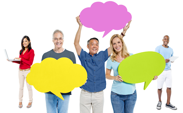 Multi-ethnic casual people holding the speech bubble
