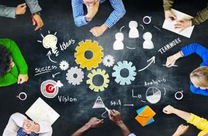 Teamwork Business Team Meeting Unity Gears Working Concept